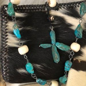 Bags - Custom Turquoise South Western 3 pc set Cow Hide